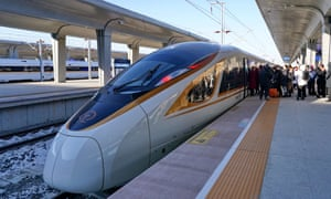 The new high-speed train that connects Beijing and Zhangjiakou, China.