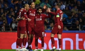 Liverpool players celebrate Virgil Van Dijk's goal which completed a 6-1 aggregate victory.