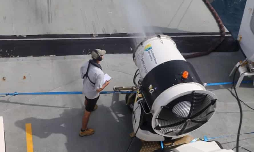 A trial on the Great Barrier Reef of cloud brightening equipment