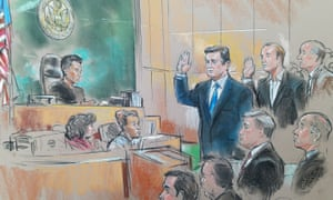 Paul Manafort in court. Courtroom four was packed with journalists and onlookers, some of whom were reprimanded by ushers for using mobile phones.