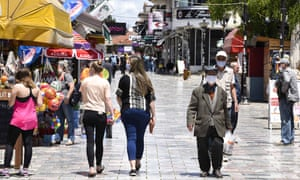 People visit the old bazaar in Ohrid, North Macedonia, on 11 June 2020.