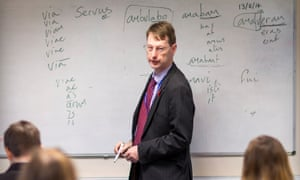 Dr Rory Fox teaching a GCSE Latin class at Ryde academy on the Isle of Wight.