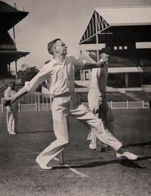 Neville Cardus in a rare appearnce in white playing for an MCC side at the Melbourne Cricket Ground on the 1936-37 tour.
