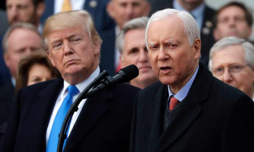 Orrin Hatch, 83, with Trump in December. Romney has until 15 March to file paperwork and run for Hatch's seat.
