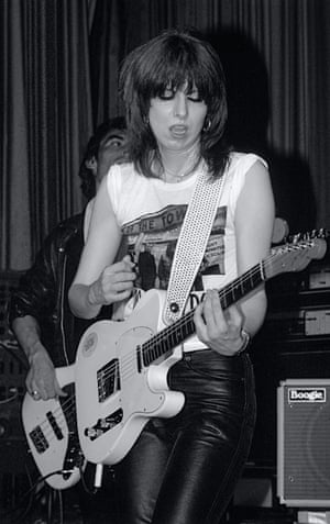 """Chrissie Hynde during The Pretenders' album tour in May 1980. Harbron was stuck in the middle of a standing room only crowd in the """"steaming heat"""" but wrestled his way to the stage to take this shot."""