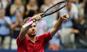 Stan Wawrinka celebrates after beating Novak Djokovic 6-7, 6-4, 7-5, 6-3.