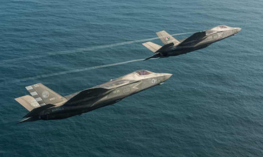 Two F-35B Lightning II jets owned by the British military.