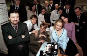 Ricky Gervais, left, in The Office in 2001 – with the Wernham Hogg crowd including Martin Freeman, Mackenzie Crook and Lucy Davis.