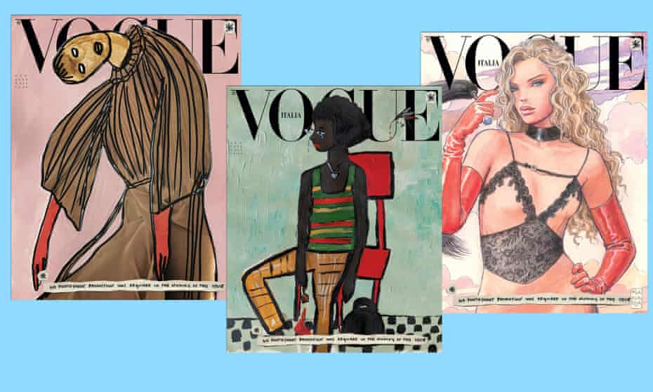 From left to right, the covers designed by Vanessa Beecroft, Cassi Namoda and Milo Manara