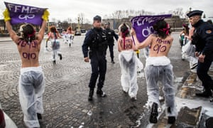 French police forces arrives during an action of activists of the women's movement FEMEN on the 'Place de la Concorde' during the International Women's Day in Paris, France, 08 March 2020.