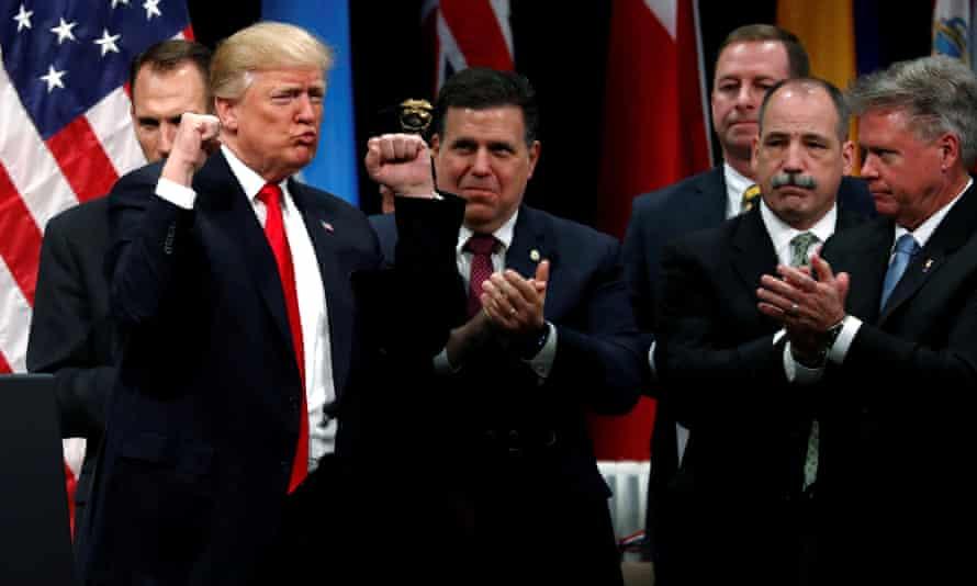 Donald Trump at a  graduation ceremony at the FBI Academy in Quantico, Virginia