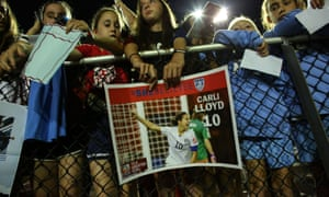 Young fans wait for autographs after the match between Sky Blue and Washington Spirit