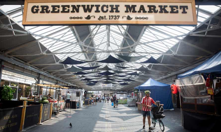 London's Greenwich Market , 13 August. Since reopening, hot food stalls that operate within the market were originally asked to pay 60% more per day.