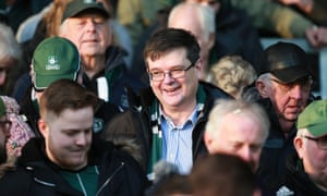 James Brent, centre, with the fans during Argyle's recent win at Oxford.