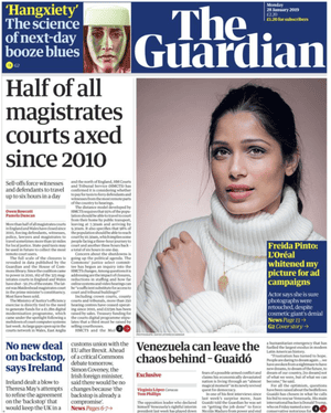 The Guardian front page 280119