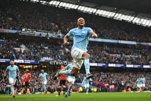 7 April 2018: Kompany celebrates scoring his side's first goal in the Manchester derby at the Etihad Stadium, though United would eventually win 3-2.