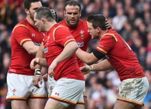 Biggar celebrates with Jamie Roberts and Wales are right back in the match.