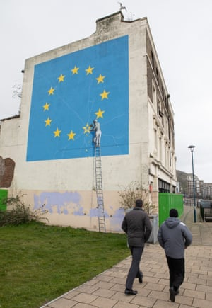Banksy's mural of EU stars decorates the approach to the docks at Dover – where 62.2% of the population voted Leave.