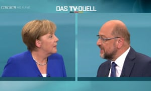 A screengrab from the TV debate showing Angela Merkel and Martin Schulz.
