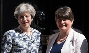 Theresa May (left) with Arlene Foster, the leader of the DUP, in London in June.