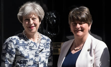 Theresa May and Democratic Unionist party leader Arlene Foster pose in front of No 10 after the Northern Irish party agreed to prop up the Conservatives earlier this year.