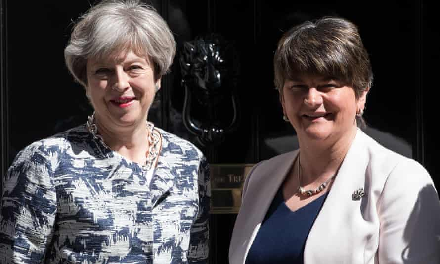 Theresa May with the DUP leader, Arlene Foster, in Downing Street in June.