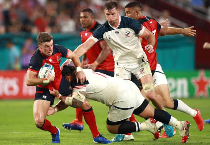 George Ford, who played with confidence and creativity, is tackled by Olive Kilifi.