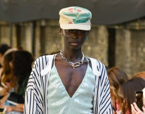 Upcycled baseball caps at the Roland Mouret show, SS20, London Fashion Week.