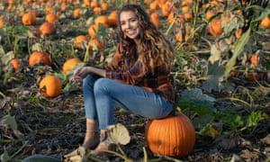 Rachel Ralphs in a pumpkin field