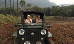 Liz Boulter and Kalpana on a jeep drive.