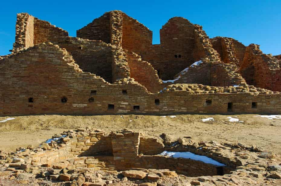 The Anasazi Hisatsinom ancestral Pueblo site, at Chaco culture national historical park, Chaco Canyon, Nageezi, New Mexico.