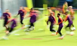 Manchester City players in training on Monday.