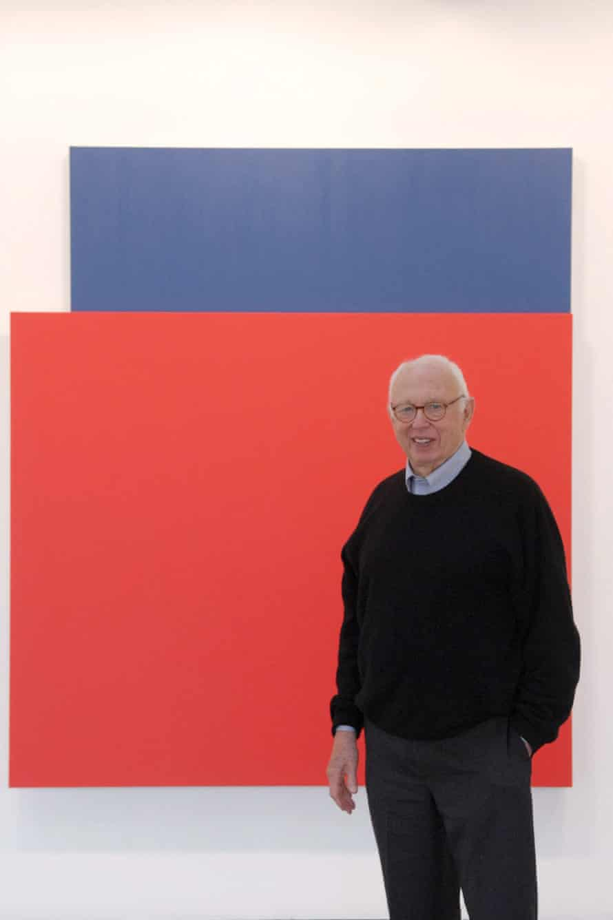 Ellsworth Kelly with Red Relief over Dark Blue.