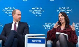 Duke of Cambridge listens as Jacinda Ardern speaks in Davos