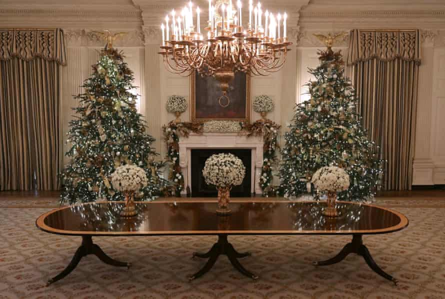 Michelle Obama made major upgrades to the State Dining Room, including blue and ecru vertical striped silk curtains.