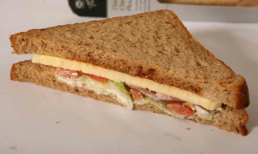 A cheese ploughmans sandwich
