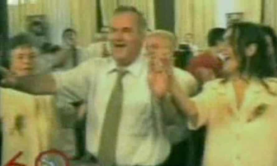 TV footage of Ratko Mladic at a party during his years on the run.