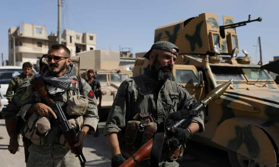 Syrian Democratic Forces fighters  in Raqqa, Syria