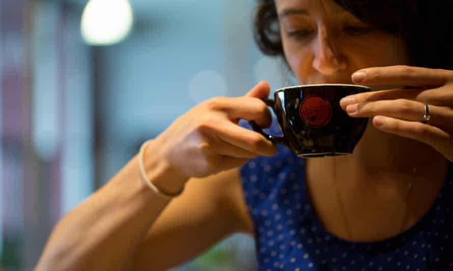 Coffee snob sips the Rwanda blend at Steamdot Coffee.