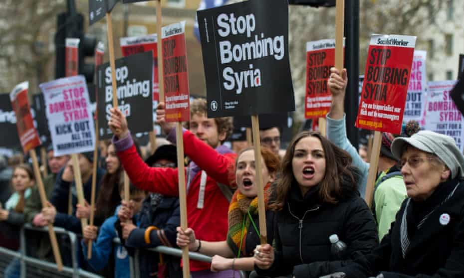 A Stop the War coalition protest outside Downing Street against airstrikes in Syria last year.