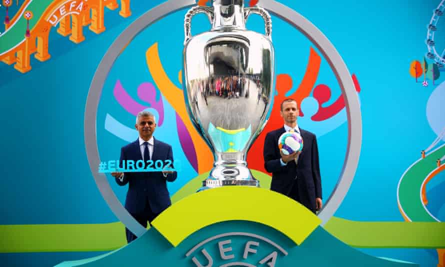 Sadiq Khan and Uefa president Aleksander Ceferin during London Euro 2020 launch event in 2016. The final will take place at Wembley on 12 July 2020.