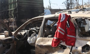 Wreckage of Syrian Red Crescent aid vehicles seen in Aleppo in September 2016.