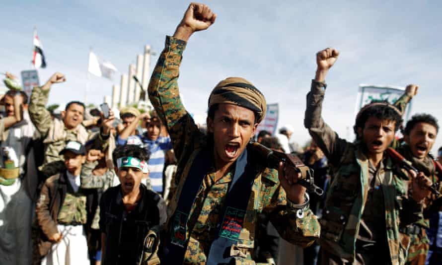 Supporters of the Houthi movement attend a rally to mark the fourth anniversary of the Saudi-led military intervention in Yemen's war, in Sanaa, Yemen on 26 March.