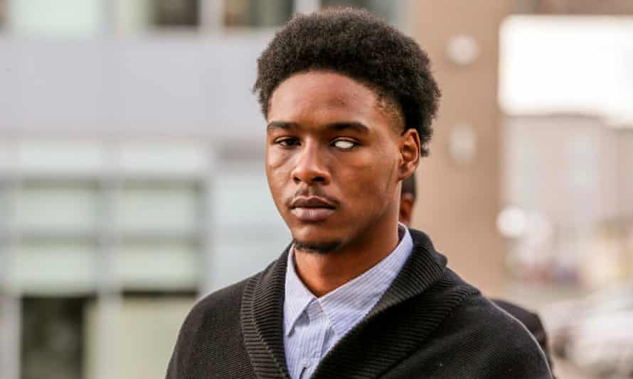 Dafonte Miller arrives to Durham Region Courthouse in Oshawa where Toronto police officer Michael Theriault and his brother, Christian Theriault, were on trial for aggravated assault.