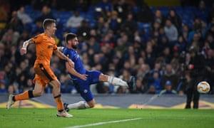 Olivier Giroud of Chelsea scores his team's second goal.