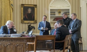 Trump in January with Reince Priebus, Mike Pence, Michael Flynn, Steve Bannon and Sean Spicer.