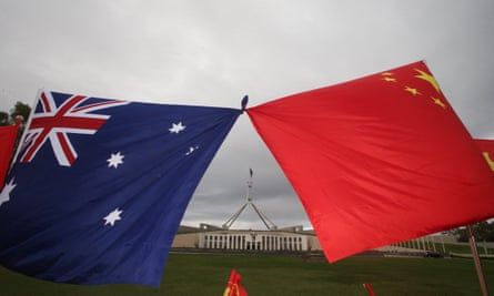 Supporters of China on the front lawns of Parliament House in Canberra.