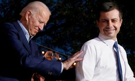 Joe Biden thanks Pete Buttigieg for his endorsement, in Dallas in March.
