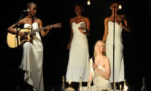 Written by Toni Morrison and directed by Peter Sellars, Desdemona features Malian singer/songwriter Rokia Traore (left), Fatim Kouyate and Bintou Soumbonou (vocals) and actress Tina Benko (sitting).