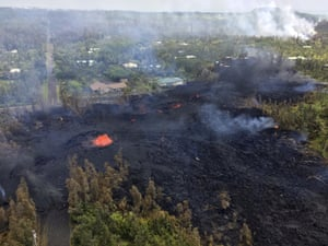 The number of homes destroyed by lava shooting out of openings in the ground created climbed to nine on Sunday